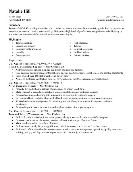 call center representative resume samples | Template