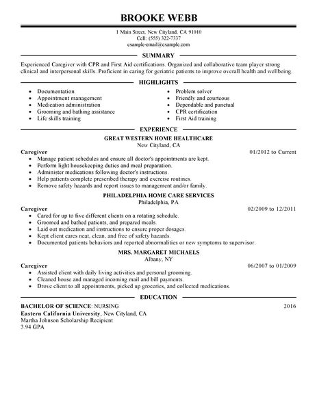 caregiver resume samples caregiver newsound co