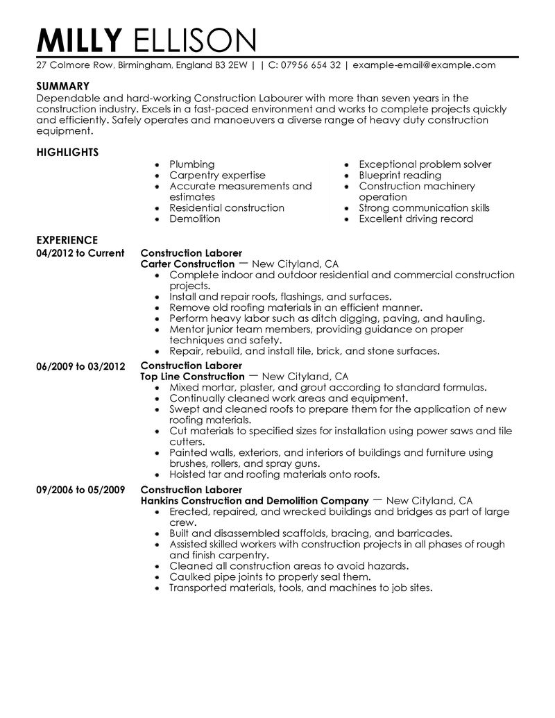 warehouse worker resume resume skills general labor
