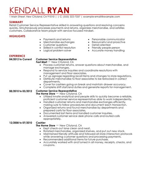 Resume For Retail Customer Service. Sample For Events Marketing