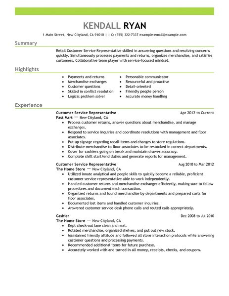 Examples Of Retail Resumes. Representative Resume Examples Retail