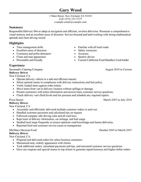 Free Sample Delivery Driver Resume. delivery driver resume example ...