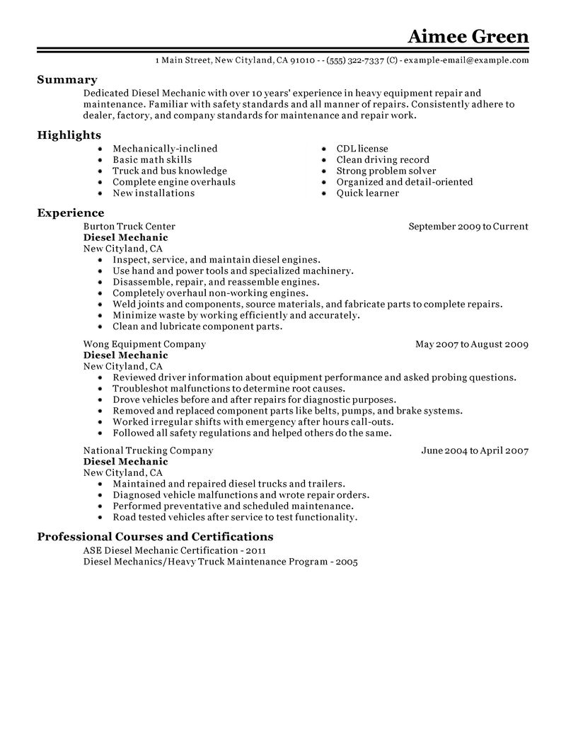 resume sample and automotive mechanic resume resume mechanic resume
