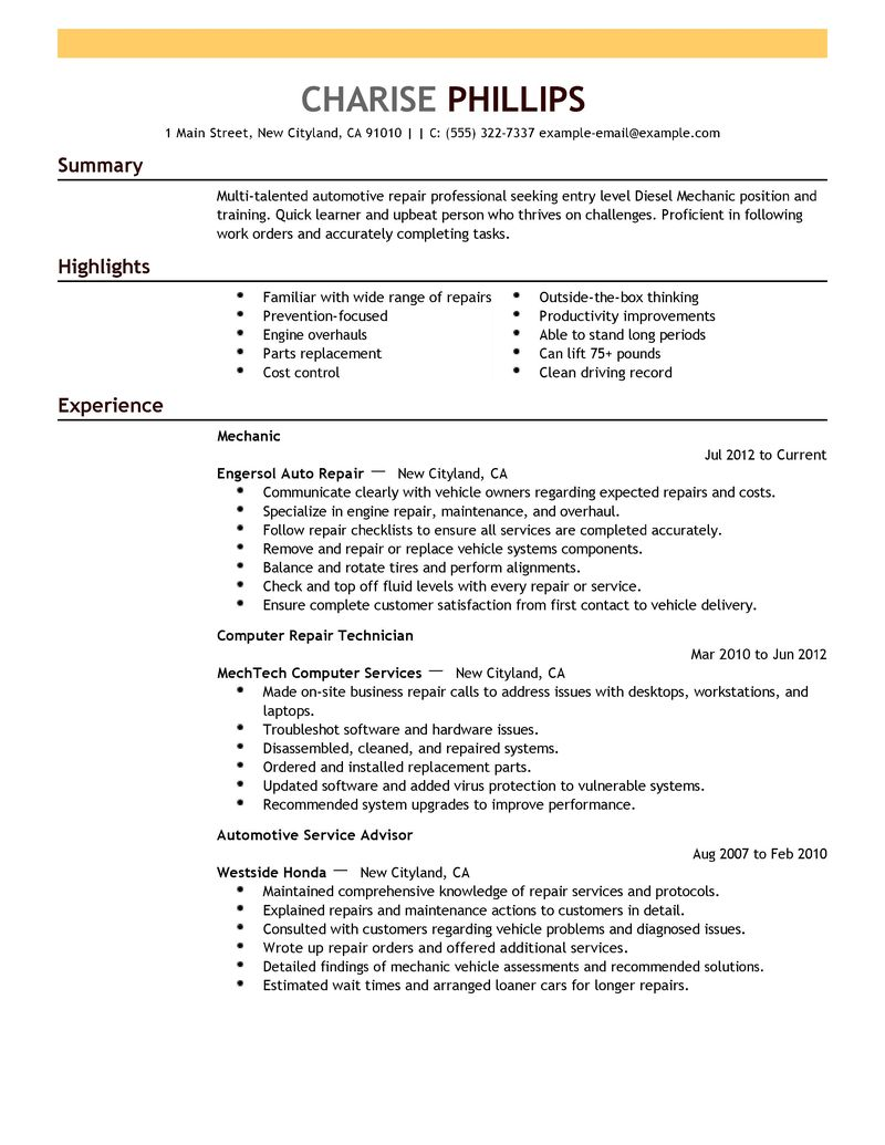 maintenance mechanic resume automotive entry level technician
