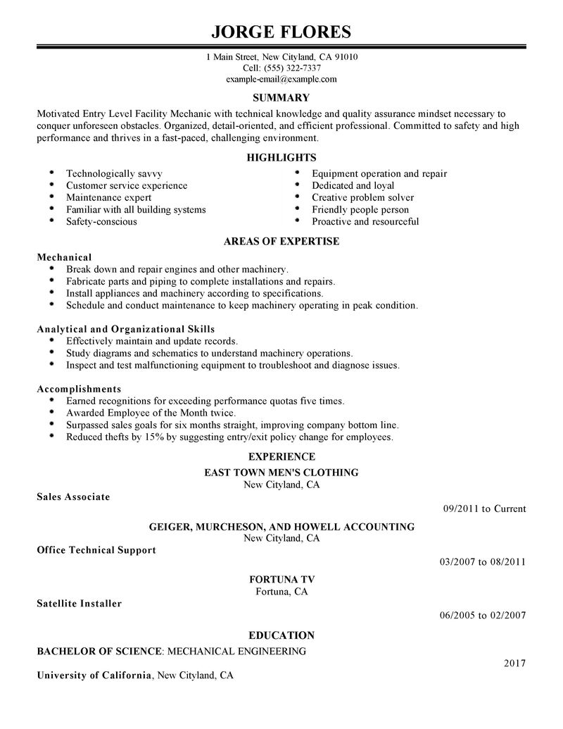 mechanic resume cleaning cover letters maintenance manager resume