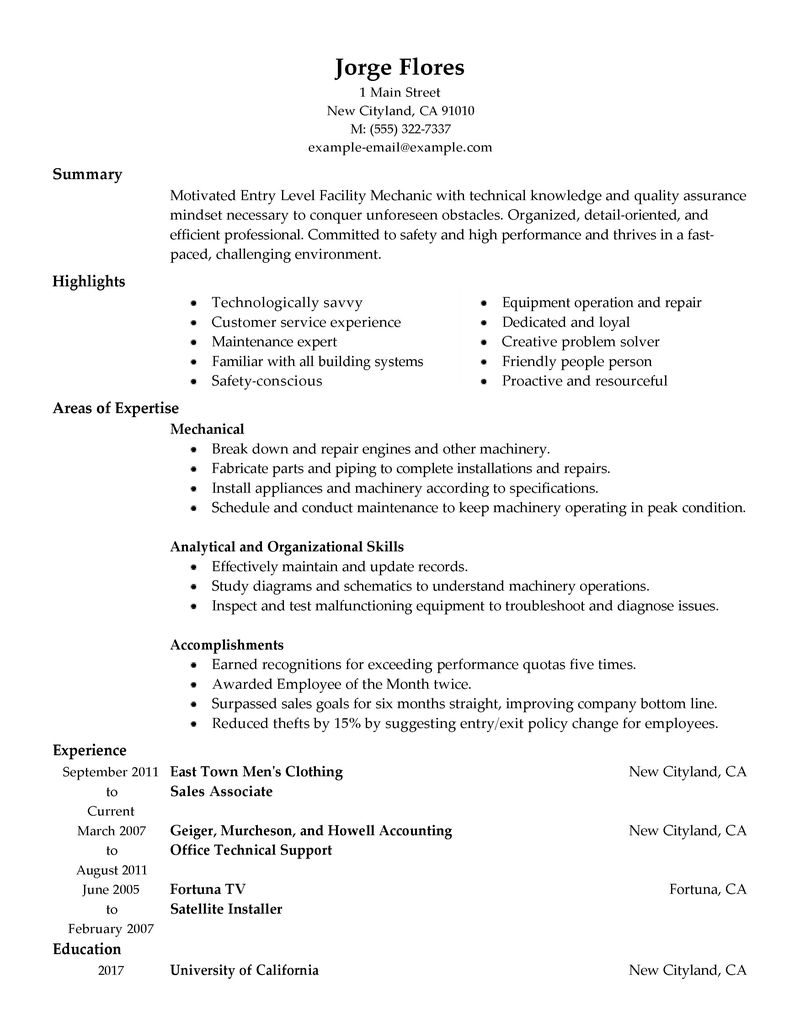 Entry Level Hvac Resume Sample Quotes