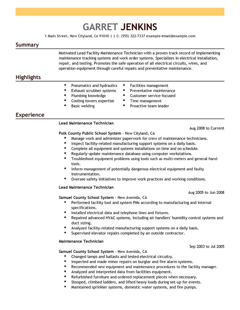 maintenance supervisor resume sample maintenance supervisor resume