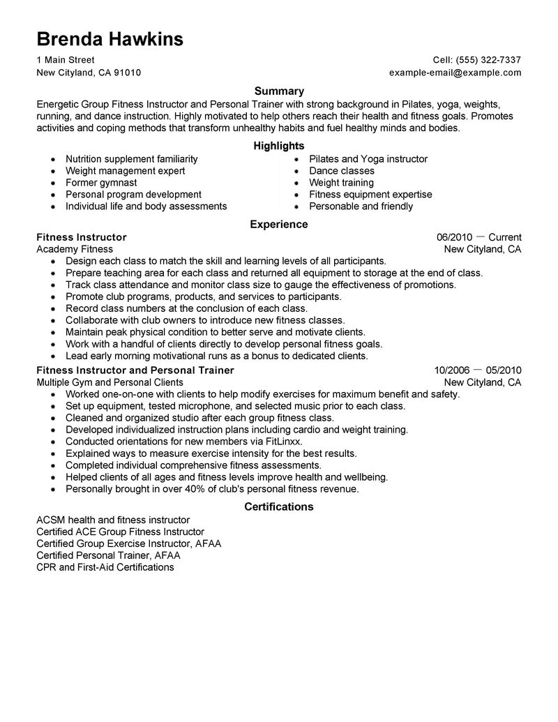 Resume For Working At A Gym Resume Template Example. Personal ...