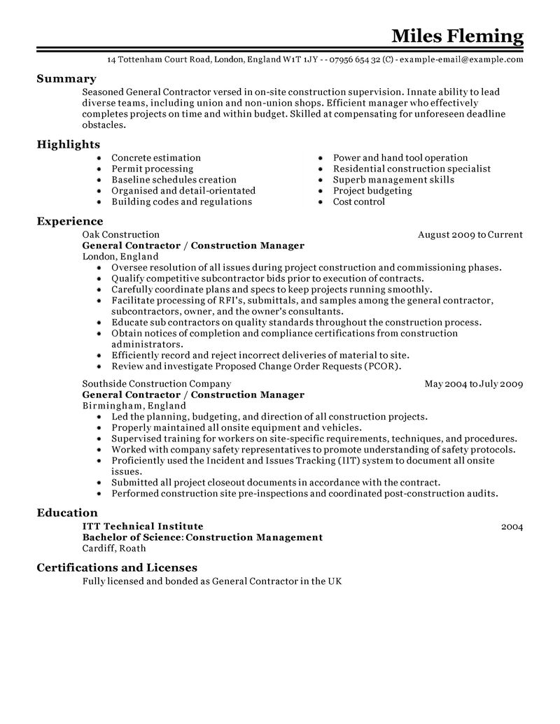 general contractor resume examples construction resume samples