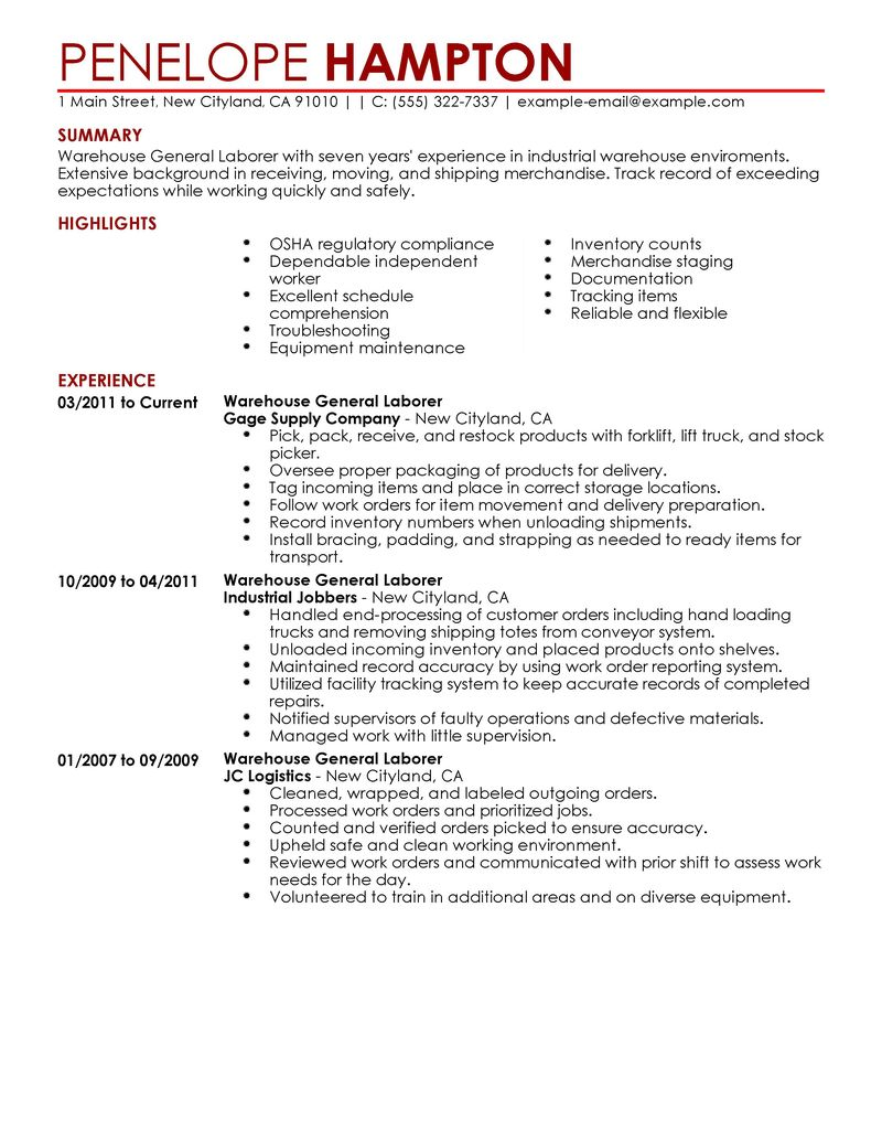 general warehouse resume samples template