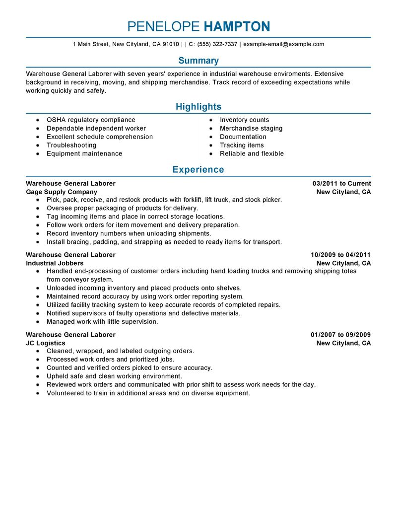 sample of warehouse resume sample resume resume and warehouses