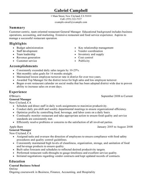 general manager resume example restaurant amp bar sample resumes