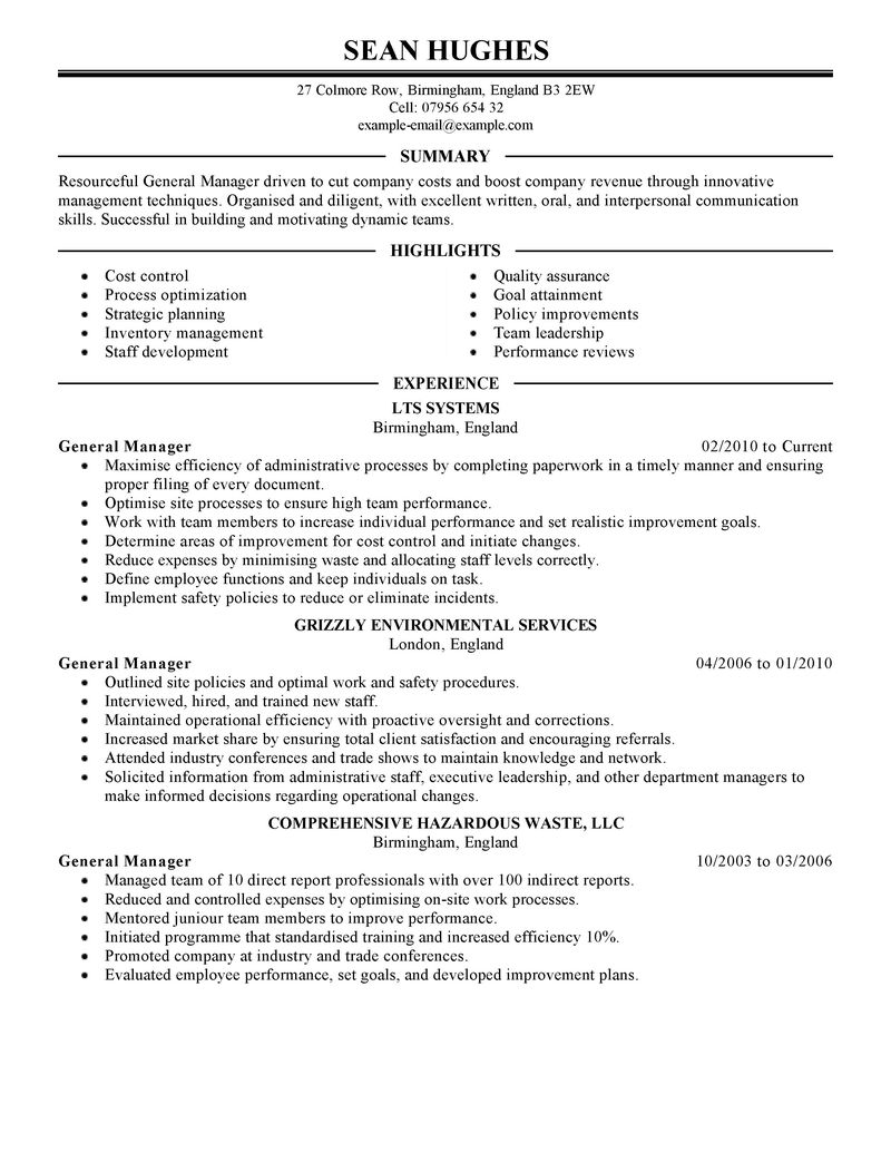 hotel general manager resume examples related with hotel manager