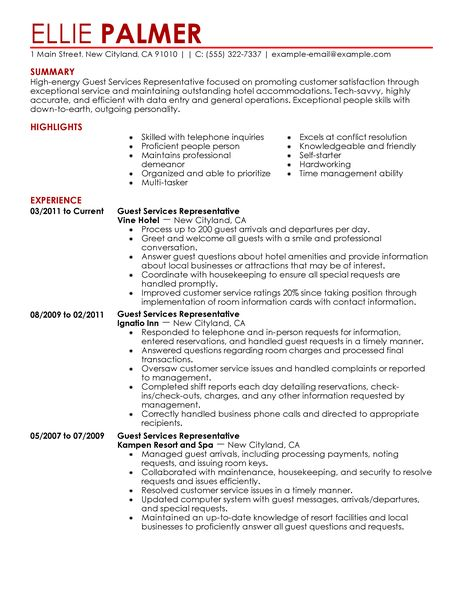 Hospitality Resume Objective. Career Objective Examples For Hotel