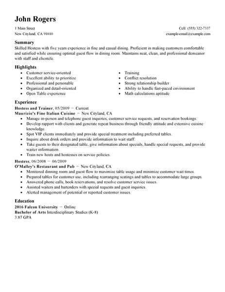 resume examples hostess cover letter sample for fresh graduate