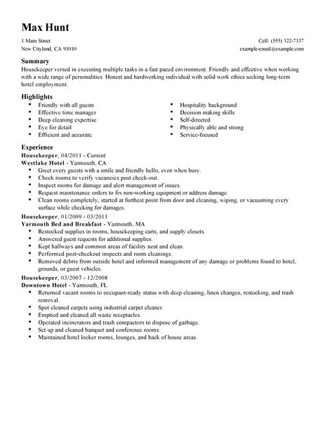 Job Description Sample Housekeeping Create Resume Online Silitmdns