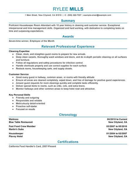 Room Attendant Resume Objective. hotel housekeeping resume samples ...