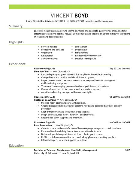 Housekeeper Resume Samples. Unforgettable Housekeeper Resume
