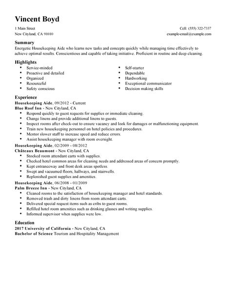 Resume Housekeeping Room Attendant. impactful professional hotel ...