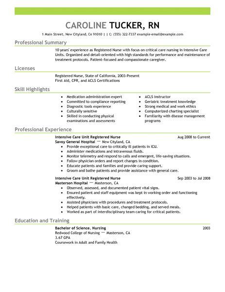 Resume Rn Skills. Registered Nurse Resume Example Medical Sample