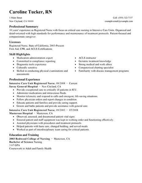registered nurse resume example download sample