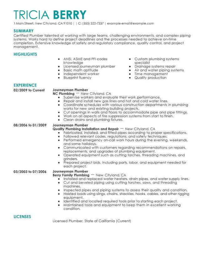 Plumbing Resume Sample. Resume Examples Sample Handyman Resume