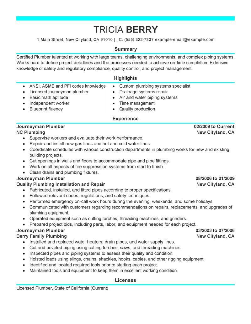 great resume templates resume plumber pipefitter resume builder resume