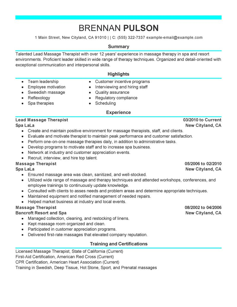 Massage Therapy Resume registered massage therapist Massage Therapist Resume Sample Best Sample Resume Free Resume
