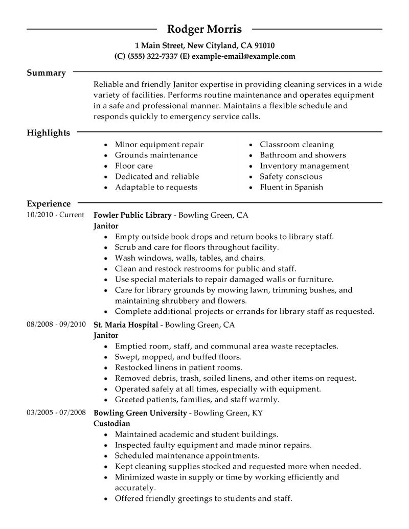 Resume Janitorial Sample Resume Examples hvac technician resume sample and free create my janitor cv example x resume