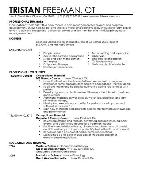 entry level occupational therapist resume