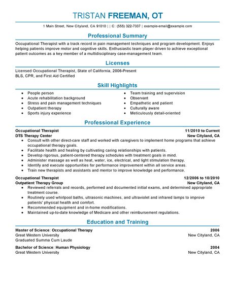 occupational therapist resumes examples of a maintenance resume