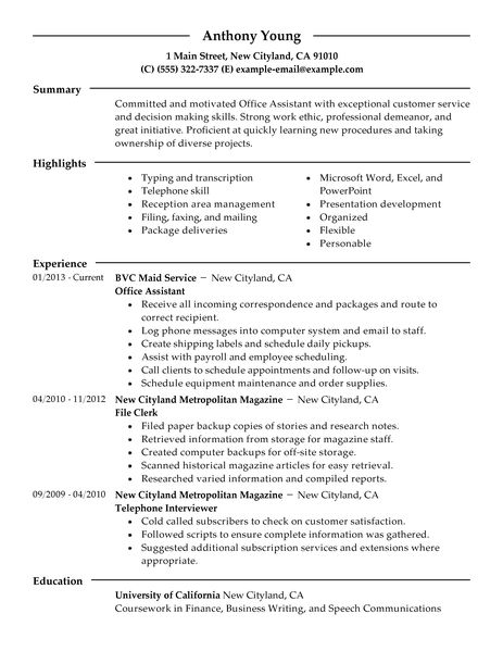 Office Assistant Resume. Merry Christmas Cards Best Template