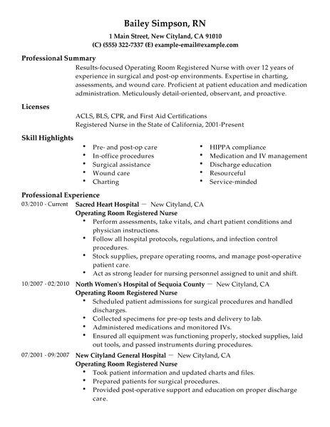 Cv For Nurses Template. operating room registered nurse resume ...
