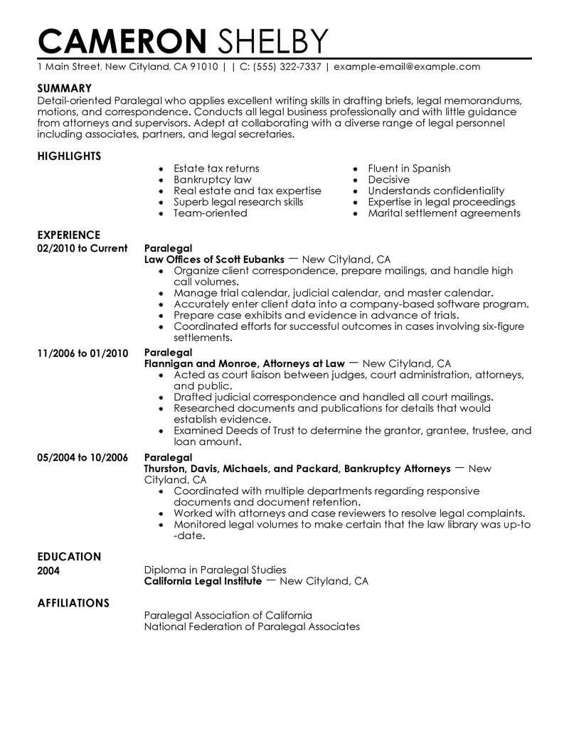 examples of paralegal resumes cover letter immigration paralegal