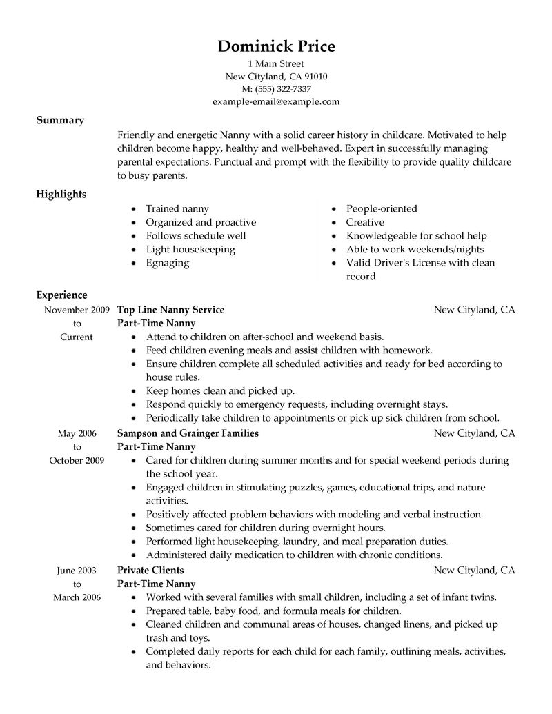 Cover Letter Nanny Job High School Research Paper Length Resume