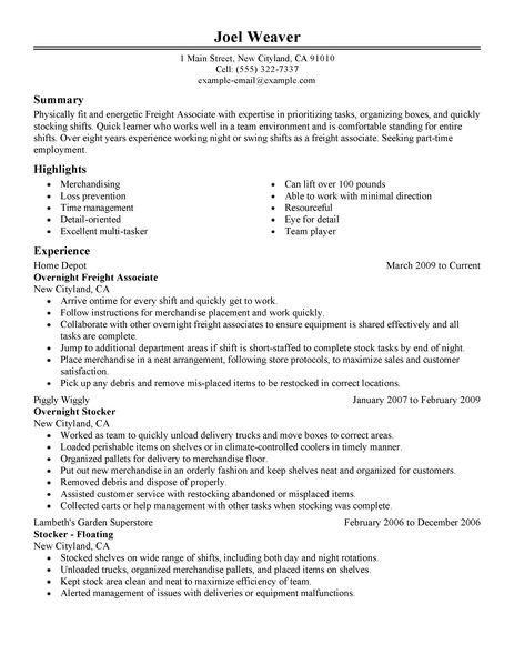 freight associates resume example retail sample resumes livecareer