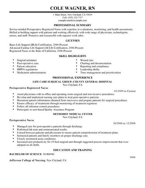 Perioperative Nurse Resume Examples Healthcare Resume Examples LiveCareer