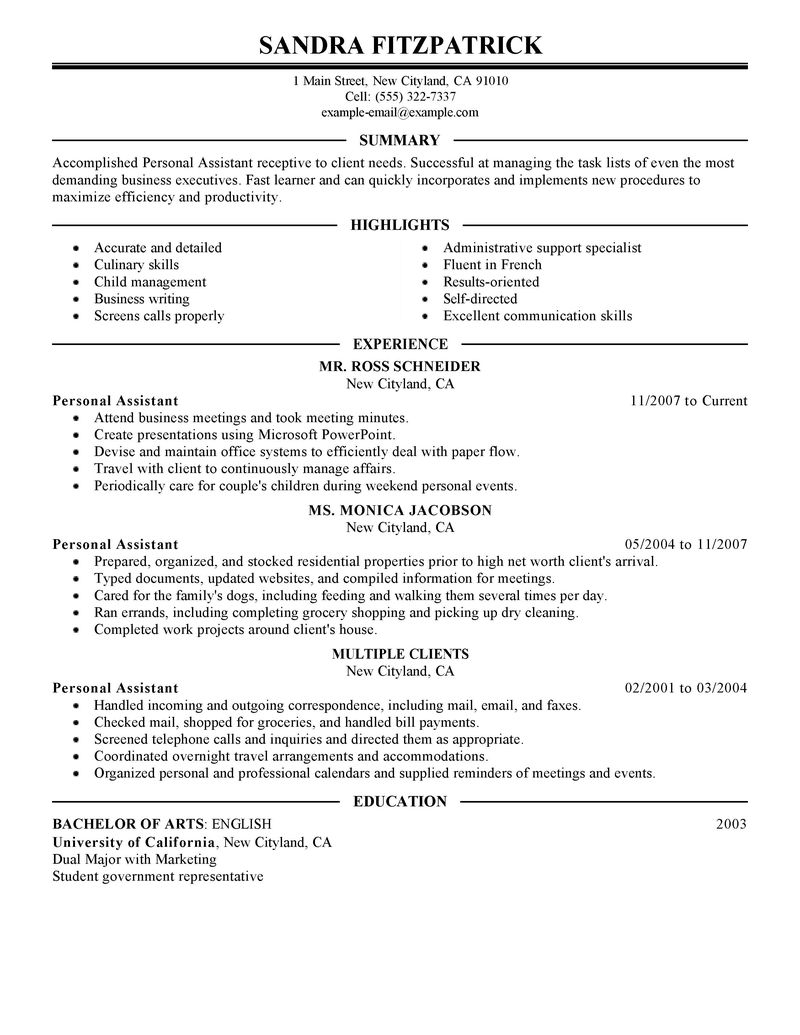 sample personal assistant resume personal assistant resume samples