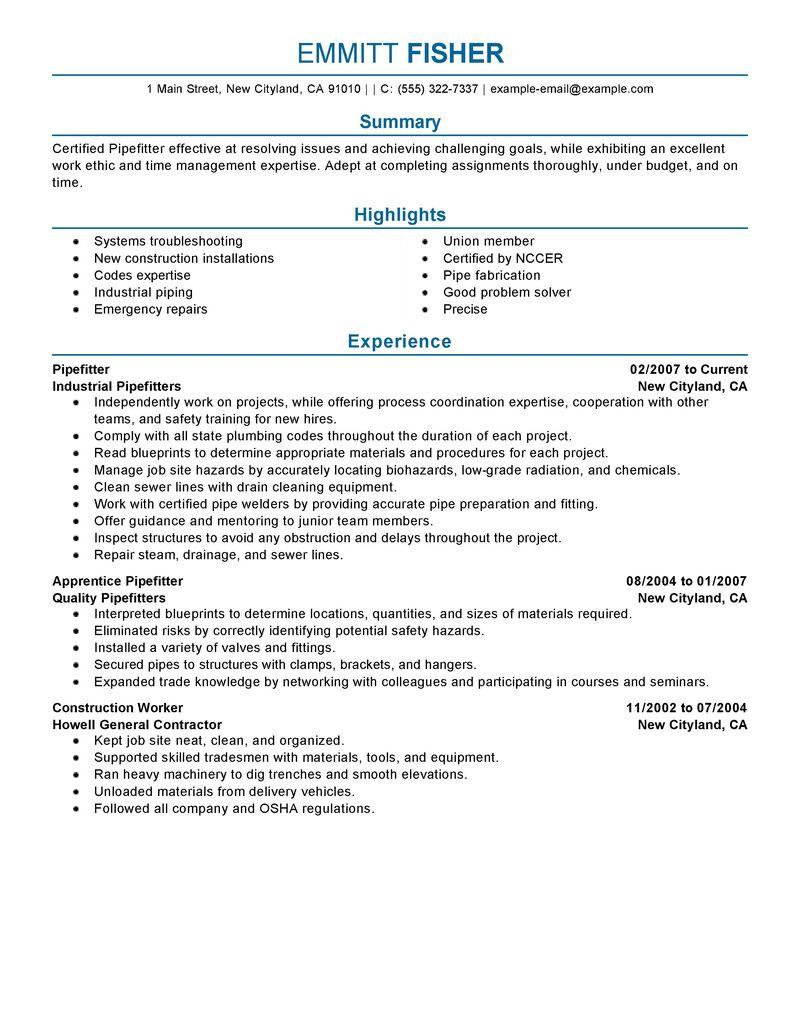 Sample Pipefitter Helper Resume