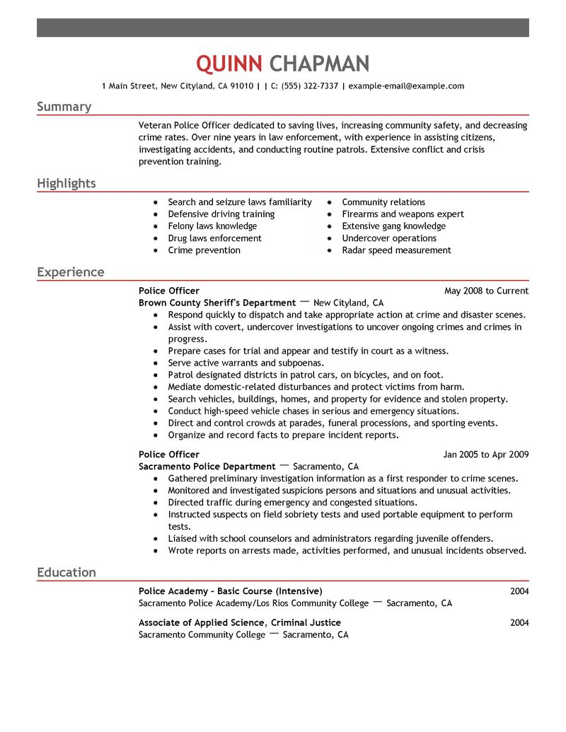police officer sample resume examples police chief cover letter