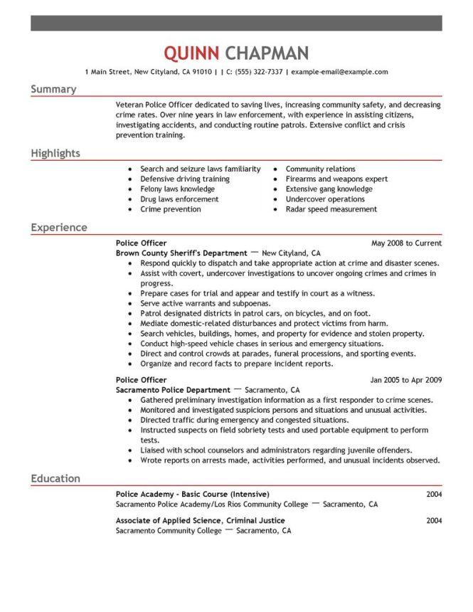 police resume samples resume sample