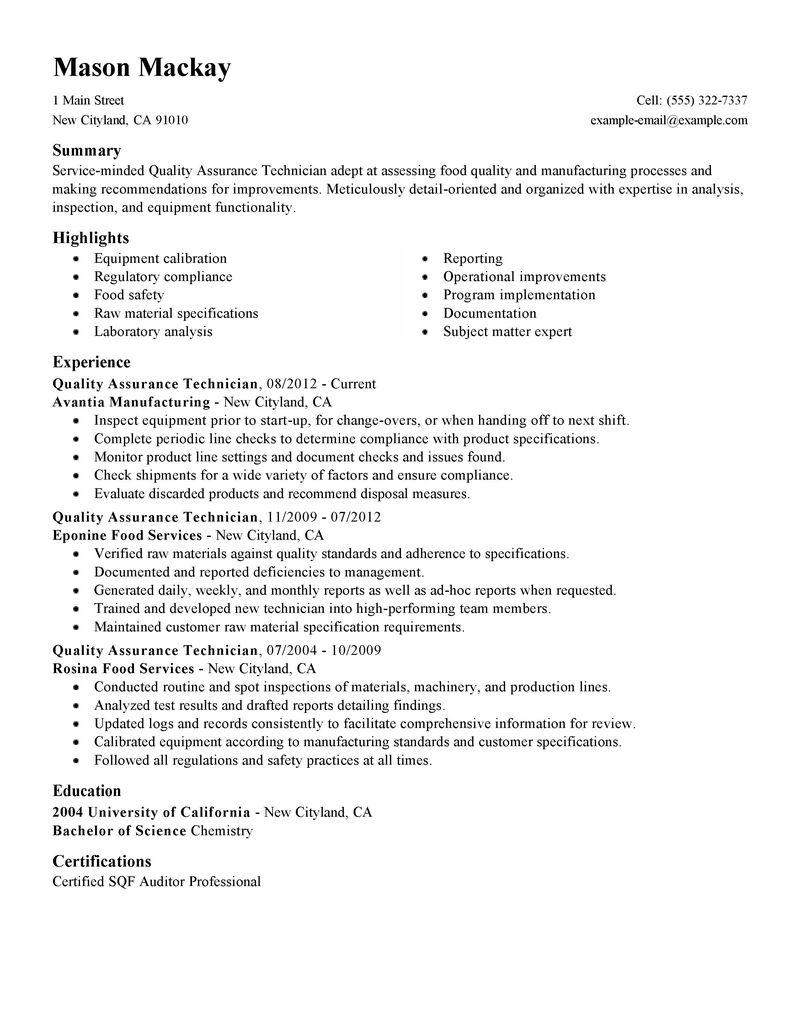 qa qc resume sample resume cv cover letter