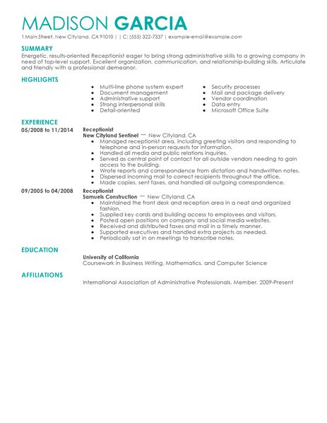 spa receptionist resume hair salon receptionist sample resume