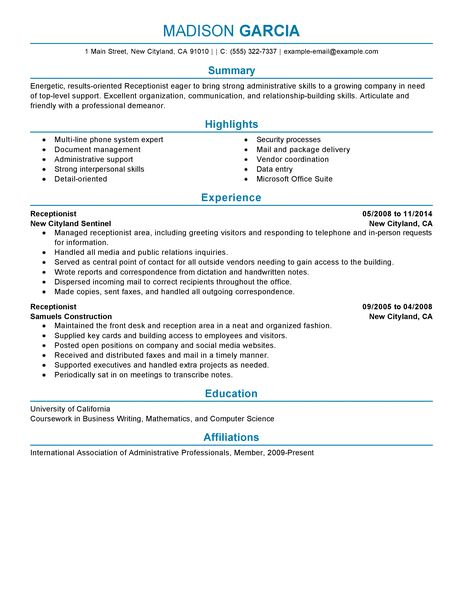 resume sample receptionist cv writing services