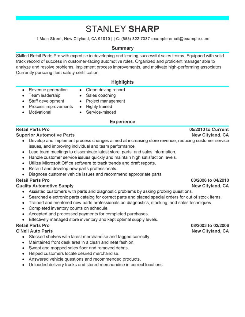 Retail Parts Pro Resume Examples Automotive Samples