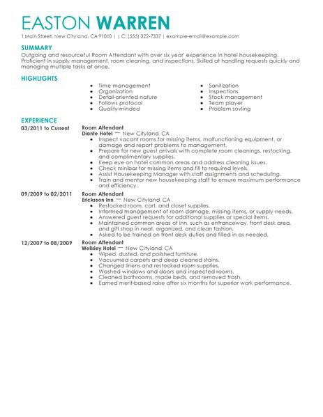 Resume Housekeeper Hotel. sample best news resume pdf cleaner resume ...