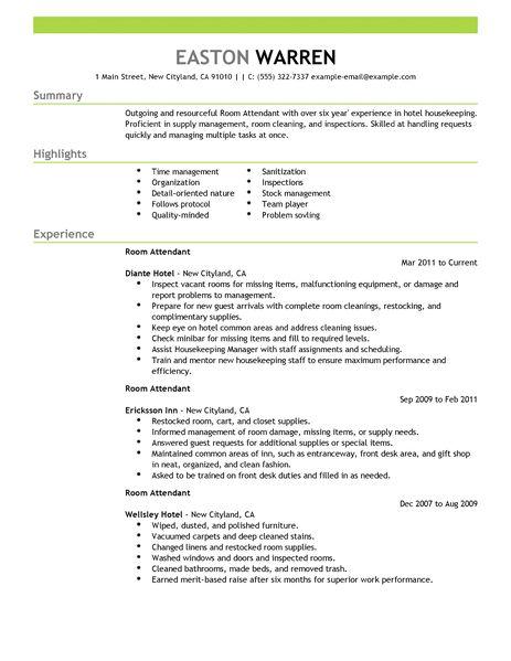 Hotel Resume Examples. Resume Examples Hotel Housekeeping Resume