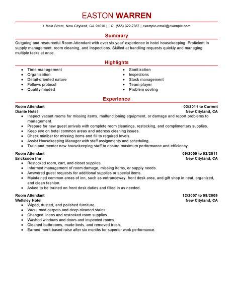 Hotel Housekeeping Job Resume. Hotel Housekeeper Resume Sample