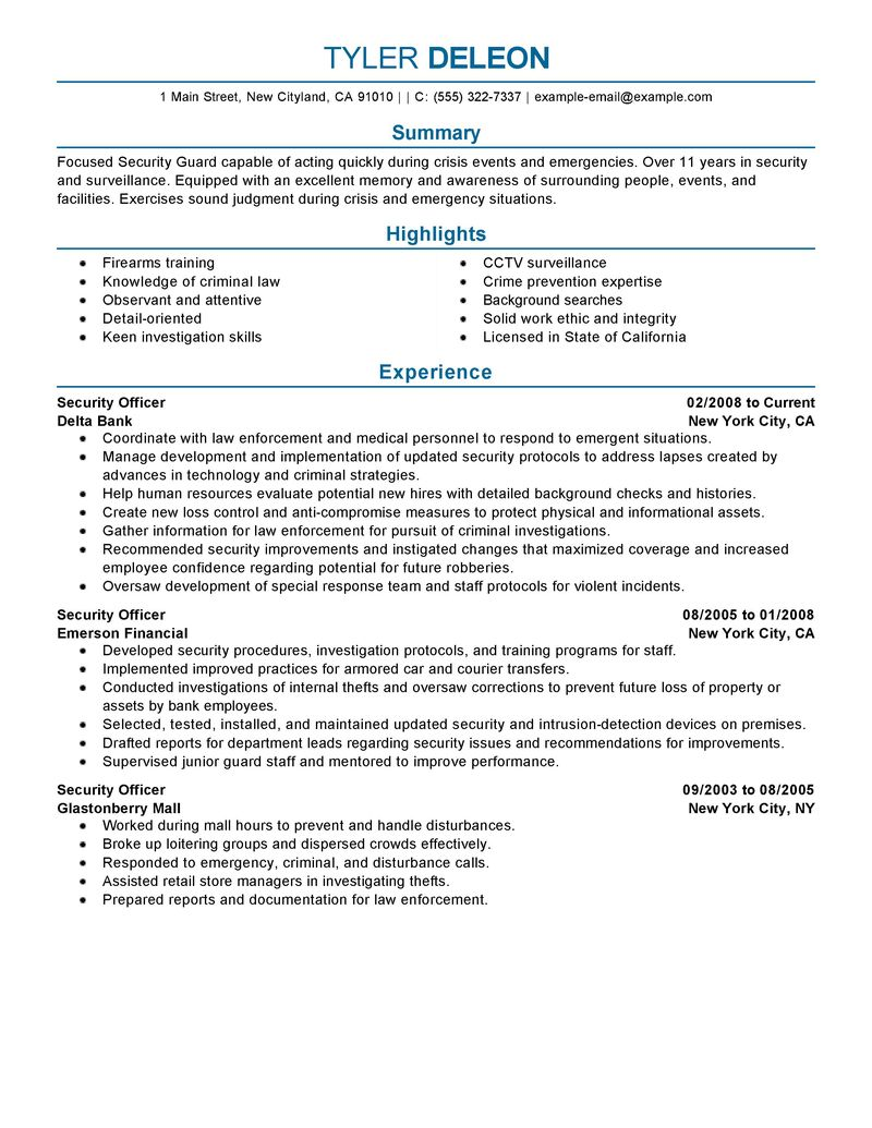 example security manager resume free sample security officer