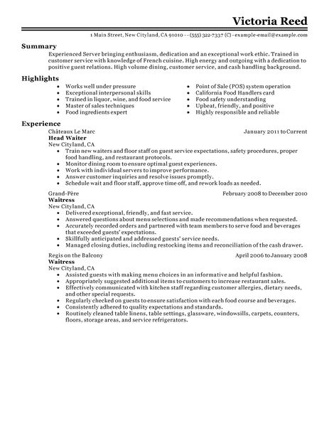 Service Industry Resume Template. food service industry resume ...